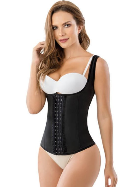 BELLE LATEX VEST WAIST TRAINER BLACK 1